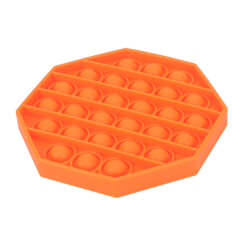 Jucarie din silicon antistres POP IT hexagon portocaliu